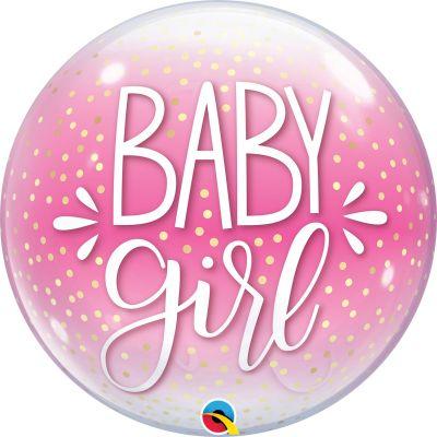 "Qualatex Bubble 56cm (22"") Baby Girl Pink & Confetti Dots"