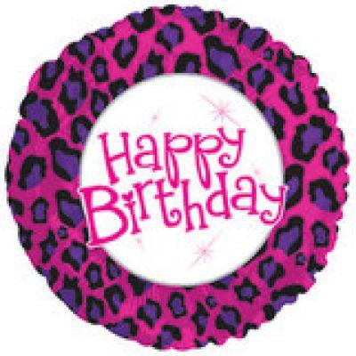 "Cti Foil 18"" Happy Birthday Animal Print"