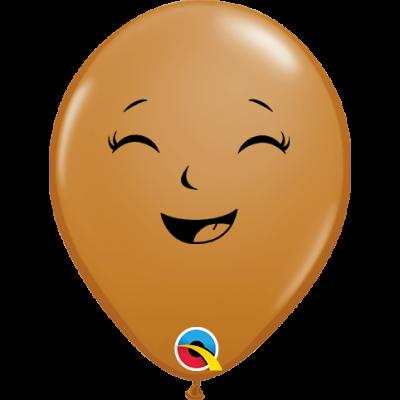 "Qualatex Printed Latex 100/12cm (6"") Happy/Sad Baby Face Mocha"