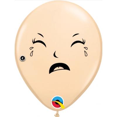"Qualatex Printed Latex 100/12cm (6"") Happy/Sad Baby Face Blush"