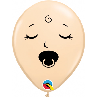 "Qualatex Printed Latex 100/12cm (6"") Sleeping Pacifier Baby Face Blush"
