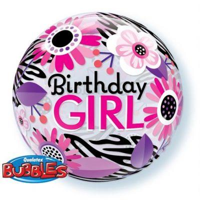 "Qualatex Bubble 22"" Birthday Girl Floral Zebra Stripes"
