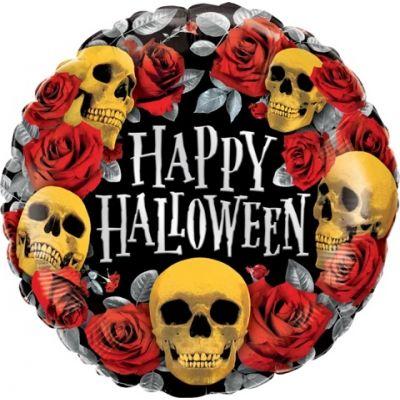 "Qualatex Foil 45cm (18"") Round Halloween Golden Skulls"