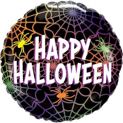 """Qualatex Foil 45cm (18"""") Round Halloween Spider & Webs"""