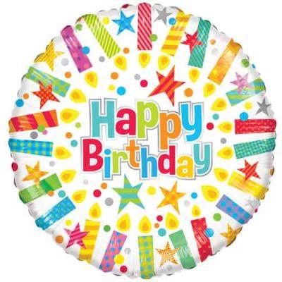 "Kaleidoscope Foil 18"" Happy Birthday Candles"