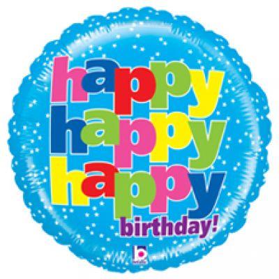 "Betallic Foil 21"" Mighty Bright Happy Happy Birthday"