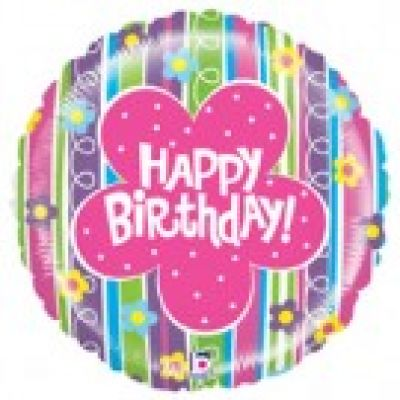 "Betallic Foil 21"" Mighty Bright Floral Birthday"