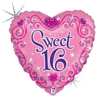 Betallic Foil Holographic 45cm Sweet 16th Sparkles
