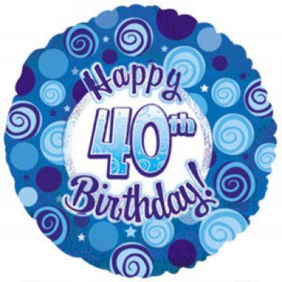 CTI Foil 45cm Dazzeloon 40th Birthday Blue