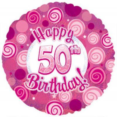 CTI Foil 45cm Dazzeloon 50th Pink