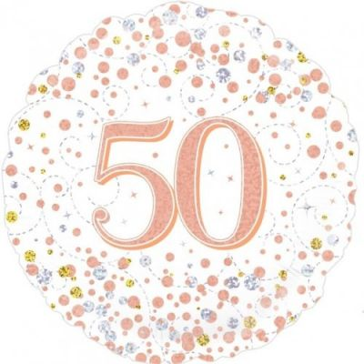 Oaktree Foil 45cm Sparkling Rose Gold Fizz 50th