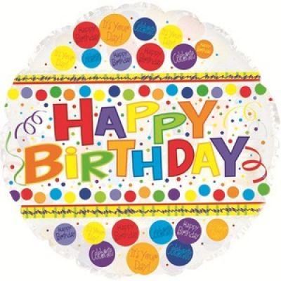 CTI Foil 45cm Happy Birthday Bubblegum Clear