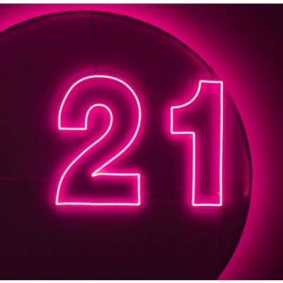 LED Sign 21  (100cm x 78cm) Light Pink