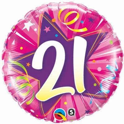 "Qualatex Foil 18"" 21st Shining Star Hot Pink"