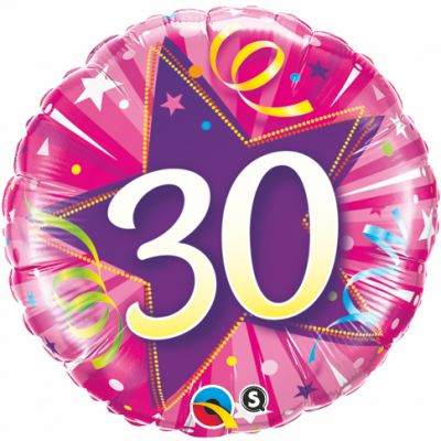 "Qualatex Foil 18"" 30th Shining Star Hot Pink"
