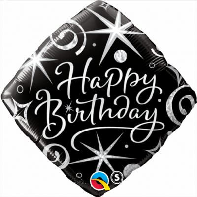 "Qualatex Foil 45cm (18"") Elegant Sparkles and Swirls Happy Birthday"