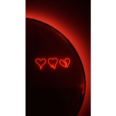 LED Sign 3 Mixed Hearts (50cm x 18cm) Red
