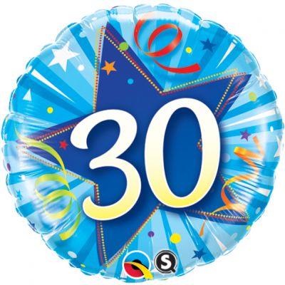 "Qualatex Foil 18"" 30th Shining Star Bright Blue"