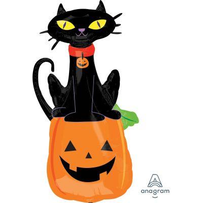 Anagram Foil SuperShape Black Cat on Pumpkin (53cm x 104cm)