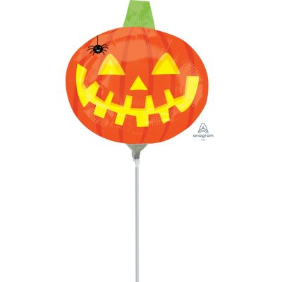 """Anagram Microfoil 35cm (14"""") Pumpkin With Spider - Air fill (unpackaged)"""