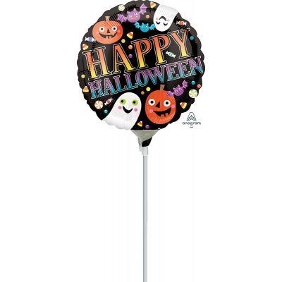 "Anagram Microfoil 22cm (9"") Happy Halloween Pumpkins, Ghosts & Bats - Air fill (unpackaged)"