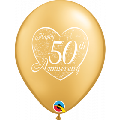 Qualatex Printed Latex 25/28cm Happy 50th Anniversary Heart (Mt Gold) 2 side print