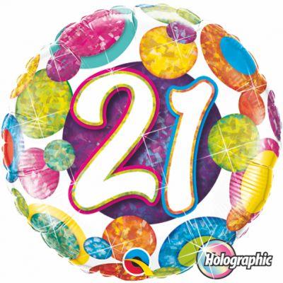 """Qualatex Foil Holographic 18"""" 21st Big Dots & Glitz"""