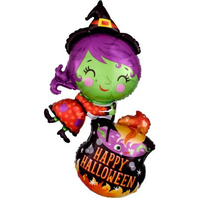 Anagram Foil SuperShape Witch and Cauldron (63cm x 71cm)