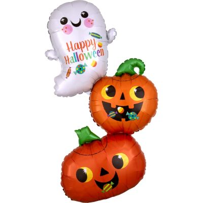 Anagram Foil SuperShape Happy Ghost and Pumpkin Stack (55cm x 93cm)