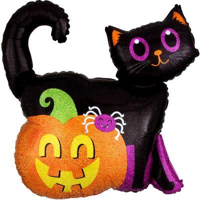 Anagram Foil SuperShape Holographic Black Cat and Pumpkin (68cm x 71cm)