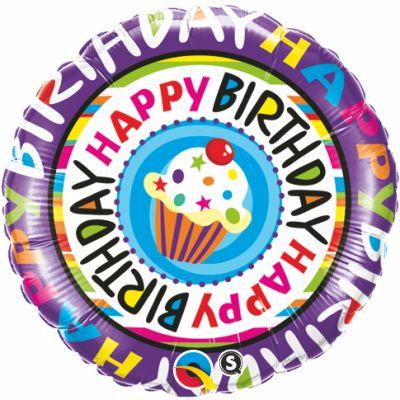 "Qualatex Foil 18"" Happy Birthday Repeat Cupcake"