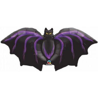 "Qualatex Foil Shape 111cm (44"") Black & Purple Bat"