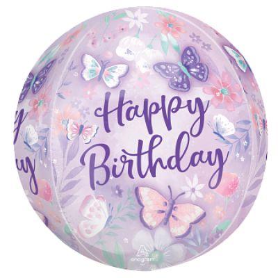 "Anagram Orbz 40cm (16"") Flutters Happy Birthday"