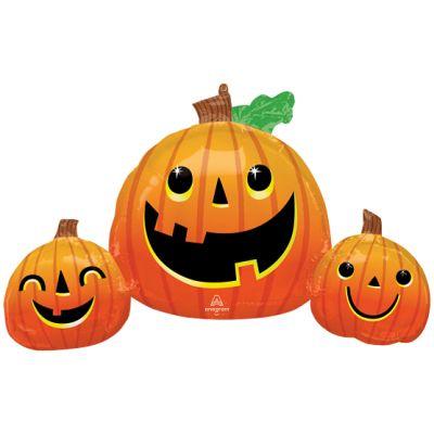 """Anagram Foil Shape 35""""(88cm) Smiley Pumpkin Trio"""