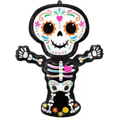 Anagram Foil SuperShape Day Of The Dead Standing Skeleton (66cm x 86cm)