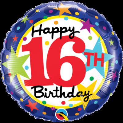 Qualatex Foil 45cm 16th Birthday Stars