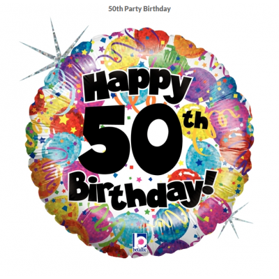 Betallic Foil Holographic 45cm 50th Party Birthday