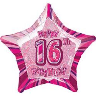 """Unique Foil 20"""" Glitz 16th Birthday Pink"""