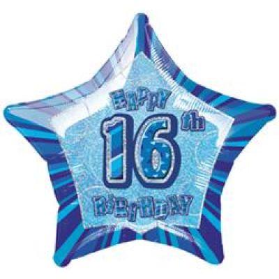 """Unique Foil 20"""" Glitz 16th Birthday Blue"""