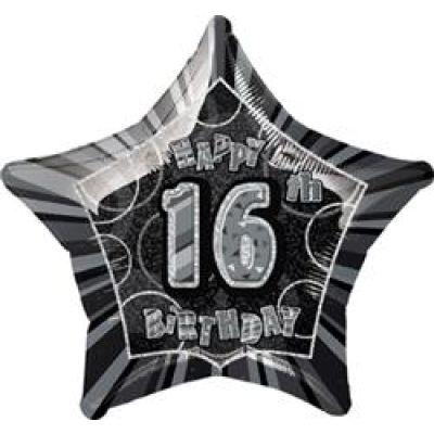 """Unique Foil 20"""" Glitz 16th Birthday Black"""