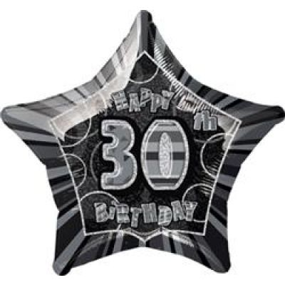 "Unique Foil 20"" Glitz 30th Birthday Black"