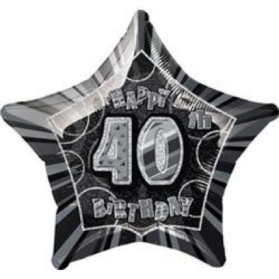 """Unique Foil 20"""" Glitz 40th Birthday Black"""