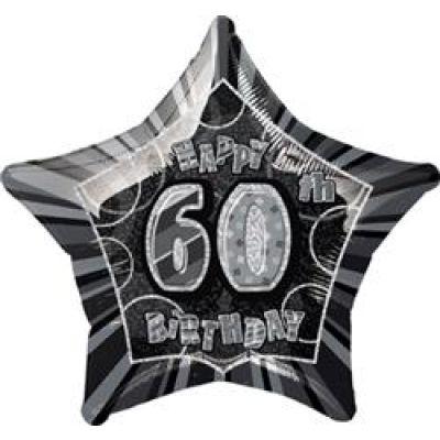 """Unique Foil 20"""" Glitz 60th Birthday Black"""