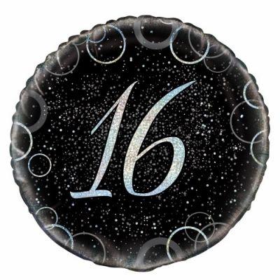 """Unique Foil 18"""" Black and Silver 16th Birthday"""