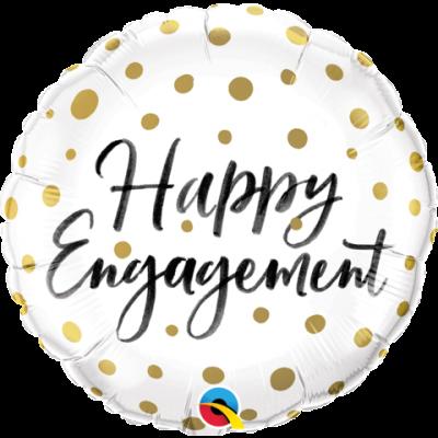 "Qualatex Foil 18"" Happy Engagement Gold Dots"