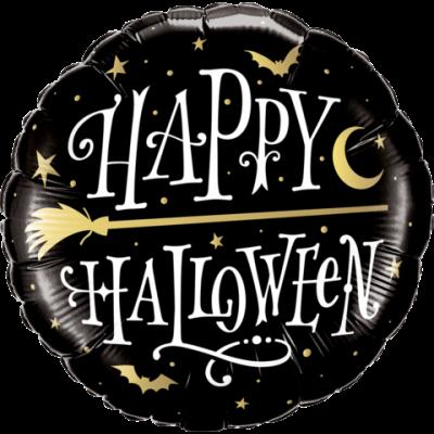 "Qualatex Foil 45cm (18"") Halloween Golden Broomstick"