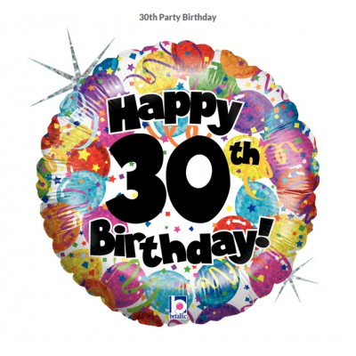 Betallic Foil Holographic 45cm 30th Party Birthday