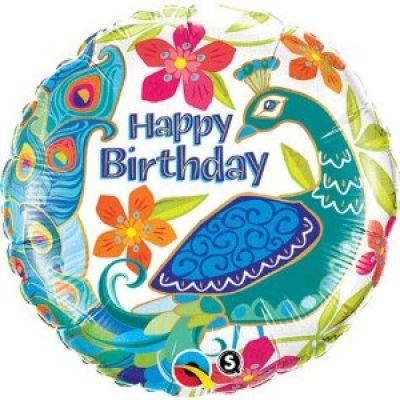 "Qualatex Foil 18"" Happy Birthday Peacock"
