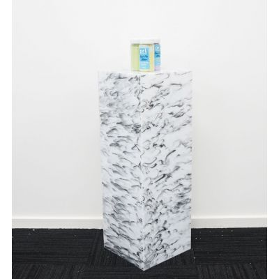 Acrylic Square Plinth (300 x 300 x 870mmH) Marble Black