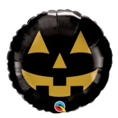 "Qualatex Foil 45cm (18"") Round Jack Face Black & Gold"